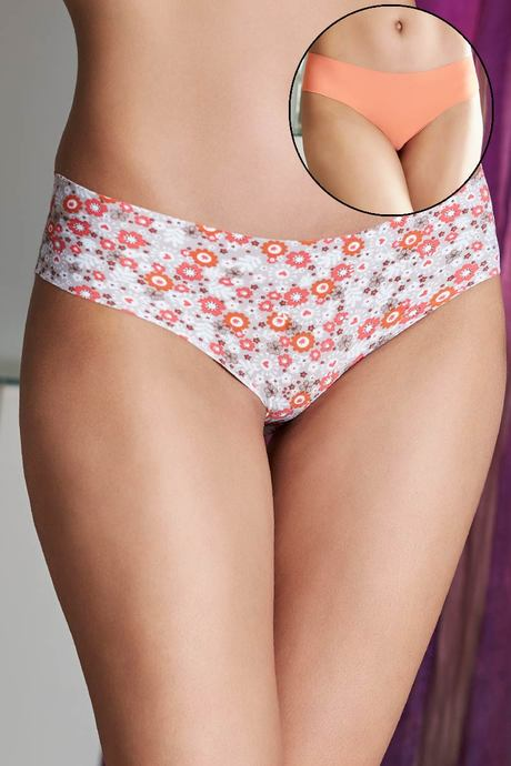 ZIVAME NO PANTY LINE LASER CUT BREEZY BLOOM N SOLID BRIEFS