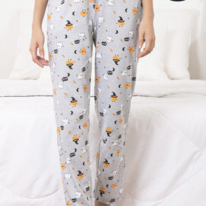 ZIVAME SPOOKY STORIES SLEEP PYJAMA GREY N PRINT