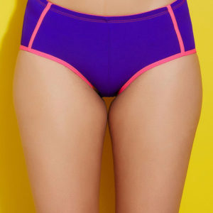 ZIVAME COLOR BLOCK MID WAIST HIPSTER BRIEF WITH SOFT ANTI DIG ELASTICS PURPLE N NEON PINK