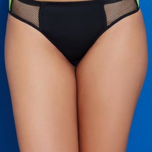ZIVAME GREEN COLOR BLOCK LOW WAIST BIKINI BRIEF WITH SOFT ANTI DIG ELASTICSM BLACK N NEON GREEN