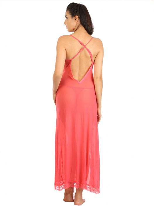 CORAL LOW BACK MESH BABYDOLL WITH ORGANZA ROSE EMBELLISHMENT