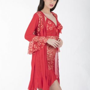 RED FLORAL EMBOSSED BABYDOLL WITH ROBE
