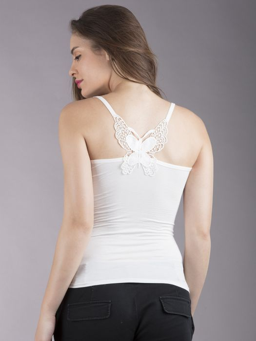 WHITE BACK BUTTERFLY STRAPPED CAMISOLE