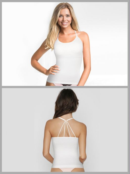 WHITE CAMISOLE STRAPPY BACK SHAPEWEAR WITH REMOVABLE CUPS